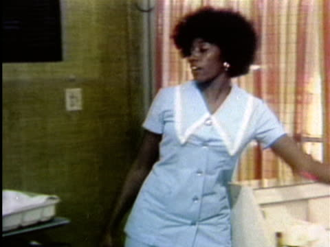 1970s ms women talking in hair salon / los angeles, california / audio - beauty salon stock videos and b-roll footage