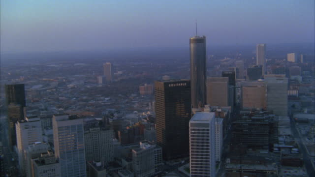 1980s ws aerial downtown skyscrapers / atlanta, georgia, usa - 1980 stock videos and b-roll footage