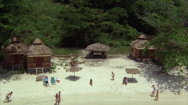 vídeos y material grabado en eventos de stock de 1980s aerial pov flying over tropical resort and beach, crashing into trees - techo de paja