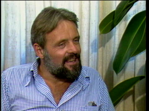 1980s MS Anthony Hopkins being interviewed / Los Angeles California USA / AUDIO