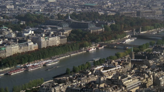 1980s ws ha tu cityscape with seine river / paris, france - 1980 stock videos and b-roll footage
