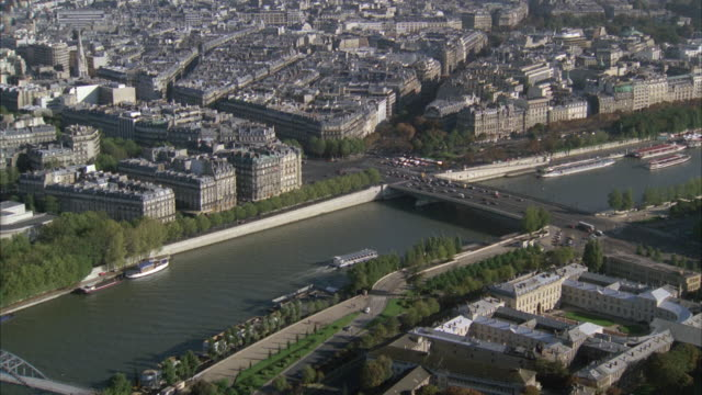 1980s ws ha pan cityscape with seine river / paris, france - 1980 stock videos and b-roll footage