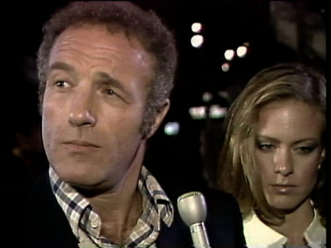 1980s cu james caan with exwife sheila being interviewed / los angeles california usa / audio - mature couple stock videos & royalty-free footage