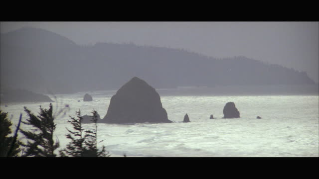 1980s ws large rock formations off coast, heavy surf / oregon, usa - surf rock stock videos & royalty-free footage