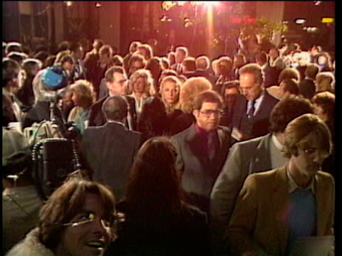 1980s MONTAGE Celebrities at premiere Robby Benson being interviewed / Los Angeles California USA / AUDIO