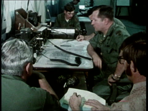 1980s MONTAGE military personnel staffing command post at base / United States