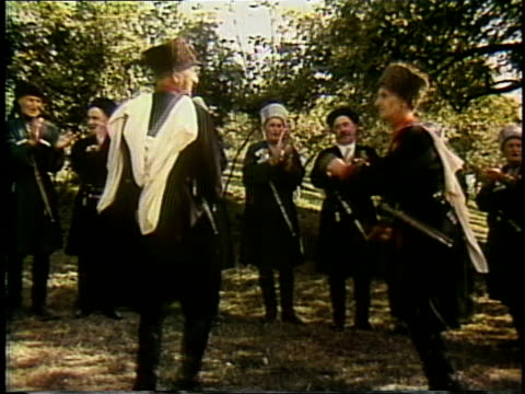 1980s montage soviet georgian centenarian choir singing and dancing in dannon yogurt commercial - caucasus stock videos and b-roll footage
