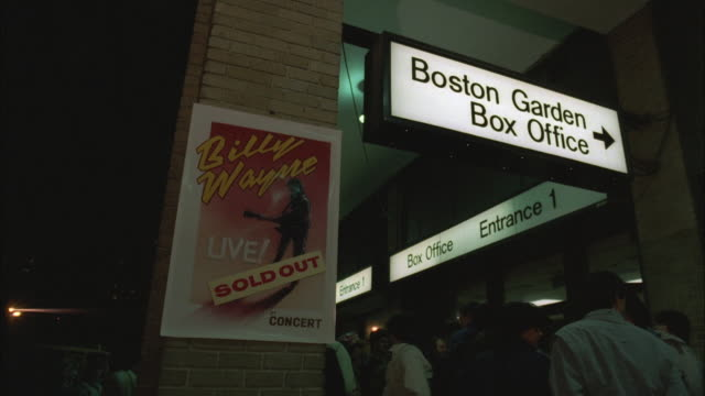 1980s ms poster for billy wayne rock concert at boston garden box office / boston, massachusetts, usa - sold out stock videos & royalty-free footage