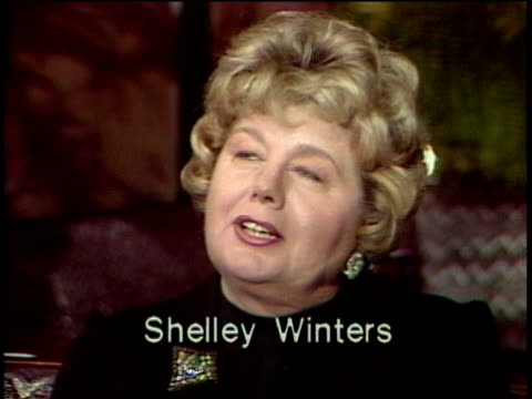 1980s CU Shelley Winters being interviewed / Los Angeles California USA / AUDIO