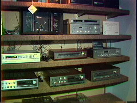 1980s stereo equipment sits on electronics store shelves - electrical equipment stock videos & royalty-free footage
