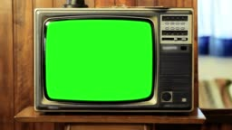 1980s Television With Green Screen.