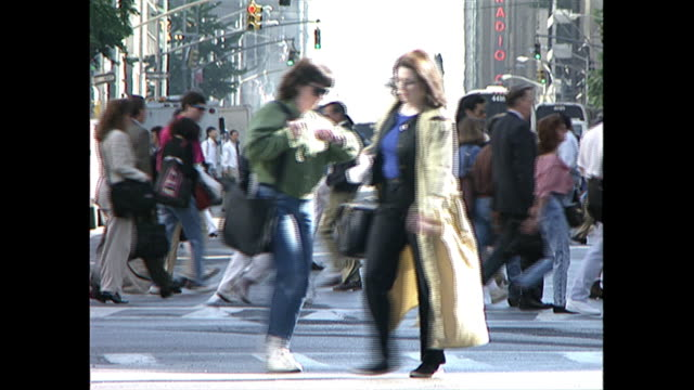 1990s pedestrians in new york city - new york city stock videos & royalty-free footage