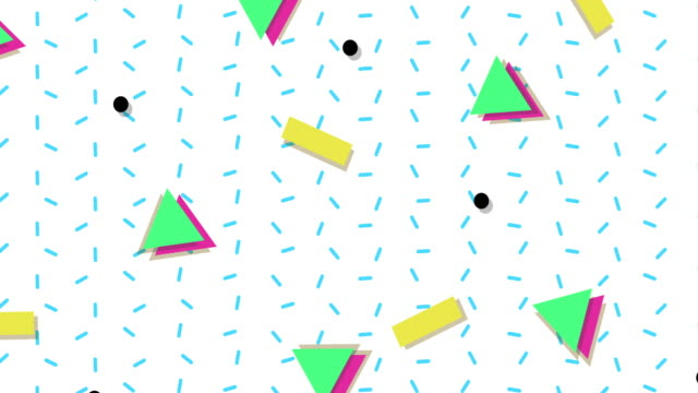 1990s style animated background pattern - geometric shape stock videos & royalty-free footage