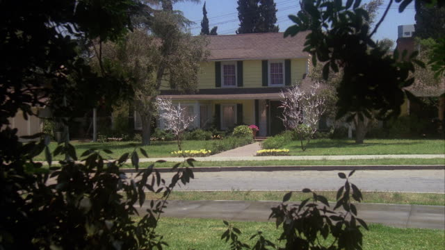 1990s WS Two story yellow clapboard middle class house