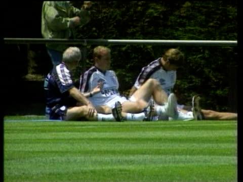 19jun1998 montage england team trains glenn hoddle press conference on red cards / united kingdom / audio - glenn hoddle stock videos & royalty-free footage