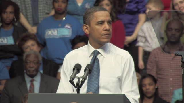 19mar2010 ms president barack obama speaking at health care rally at george mason university / fairfax virginia usa / audio - 2010 stock videos & royalty-free footage