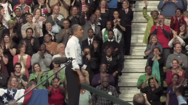 19mar2010 ws zi ms president barack obama speaking at health care rally at george mason university / fairfax virginia usa / audio - medical insurance stock videos & royalty-free footage