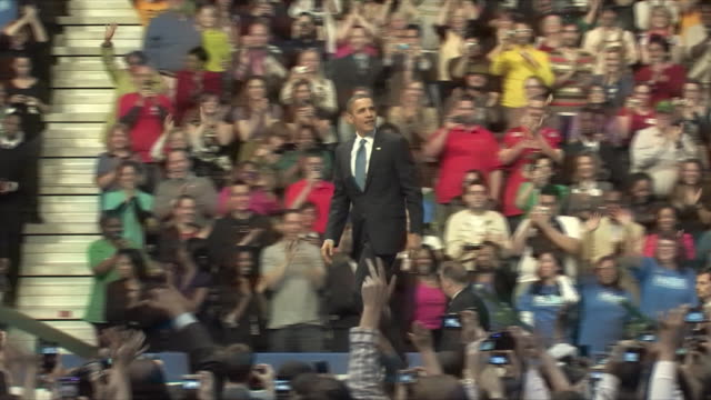 mar-2010 start of president barack obama's health care rally at george mason university / fairfax, virginia, usa / audio - 2010 stock videos & royalty-free footage