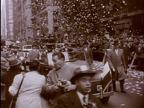 vídeos y material grabado en eventos de stock de apr-1952 b/w montage tickertape parade in new york with queen juliana / new york city, united states - 1952