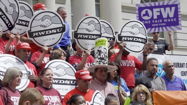 the national organization for women in new york city launches the 'one fair wage' campaign at the steps of city hall in new york city advocates... - gewerkschaft stock-videos und b-roll-filmmaterial