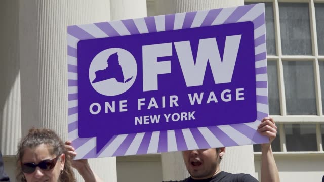 The National Organization for Women in New York City launches the 'One Fair Wage' campaign at the steps of City Hall in New York City Advocates...