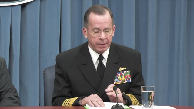 1feb2010 ms joint chiefs of staff chairman michael mullen press conference on 2011 budget / alexandria virginia usa / audio - joint chiefs of staff stock videos and b-roll footage