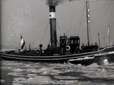 1jan1929 b/w montage ice nuisance on the major rivers in the very severe winter of 1929 / netherlands - 1929 stock videos and b-roll footage