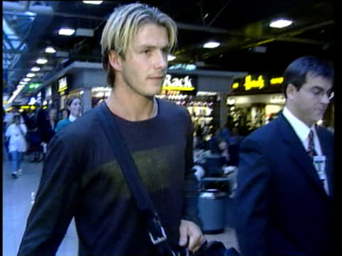 vídeos y material grabado en eventos de stock de 1jul1998 montage england out of world cup beckham at airport / audio - 1998