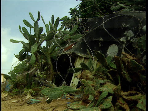 oct-1998 abandoned armored vehicle covered in razor wire with cactus growing in and around it / mogadishu, benadir, somalia - veicolo militare terrestre video stock e b–roll