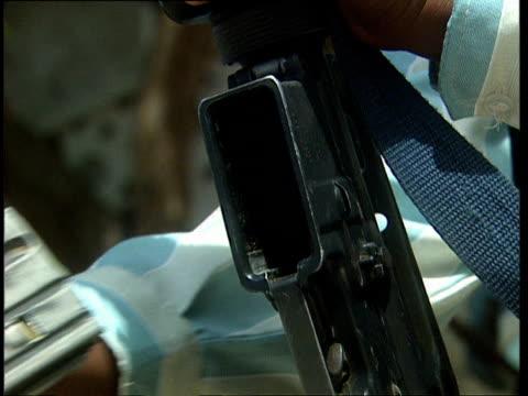 oct-1998 hands loading machine gun with ammunition cartridge / mogadishu, benadir, somalia - cartridge stock videos & royalty-free footage