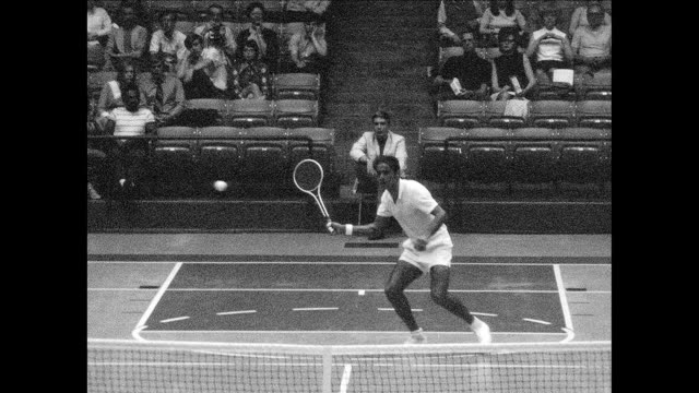 1st annual tennis champions classic / pancho gonzales serving in slow motion / gonzales is considered one of the best server of all time as one foot... - dayton ohio stock videos & royalty-free footage