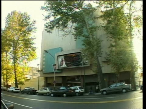 1st april 2000 ws zi cu billboard of movie theater / tehran, iran - tehran stock videos and b-roll footage