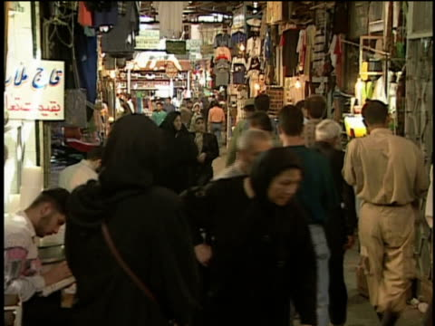 1st april 2000 ws crowd in tajrish bazaar / tehran, iran - middle east stock videos & royalty-free footage