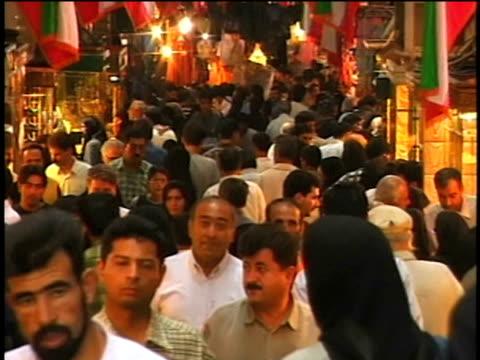 1st april 2000 ms zo ws crowded alley in bazaar / tehran, iran - teheran stock videos & royalty-free footage