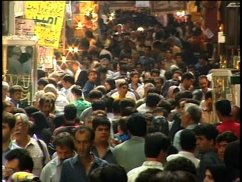 1st april 2000 ws zo crowded bazaar corridor / tehran, iran - tehran stock videos & royalty-free footage