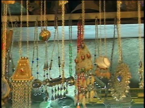 1st april 2000 cu pan jewelry on display / tehran, iran - skåp med glasdörrar bildbanksvideor och videomaterial från bakom kulisserna