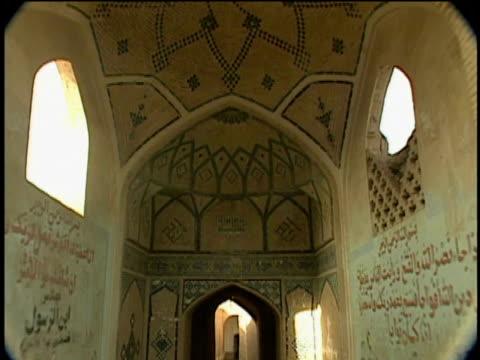 1st feb 2000 ws td old alley in historic district / kashan, iran - arabic script stock-videos und b-roll-filmmaterial