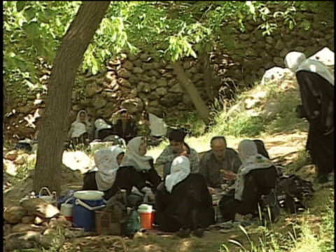 1st Jun 2000 WS Family sitting in meadow picnicking under walnut tree / Village of Najar, Kurdistan, Iran