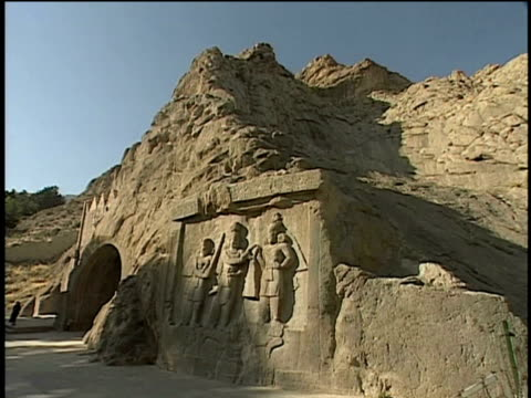 1st jun 2000 ws tagh bostan rock relief / kermanshah, iran - male likeness stock videos & royalty-free footage