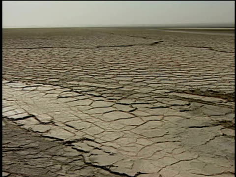 1st march 2000 ws pan salt desert, dasht-e-kavir desert / dasht-e-kavir desert,  , iran - iran stock videos and b-roll footage