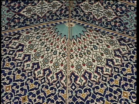 1st May 2000 CU ZO WS LA TD Interior of Saint Massoumeh shrine with ornate tiles / Qum, Iran