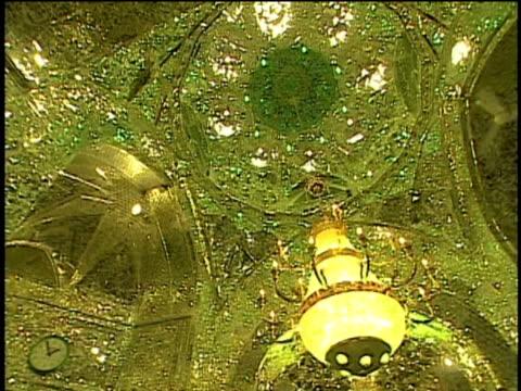1st May 2000 WS TD PAN Interior of Saint Massoumeh shrine with ornate walls, men praying / Qum, Iran