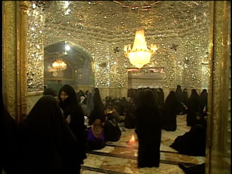 1st may 2000 ws tu women in hijabs inside saint massoumeh shrine / qum, iran - pellegrino video stock e b–roll