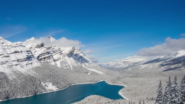 1st snow at Peyto Lake in Banff National Park, Canada