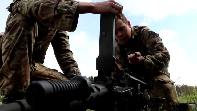 1st the queen's dragoon guard soldiers start the first of a four day weapons training event with the battle group poland at bemowo piskie training... - eastern european culture stock videos and b-roll footage