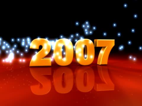 vídeos de stock e filmes b-roll de 2007 partículas novo ano (ntsc 30p - número 7