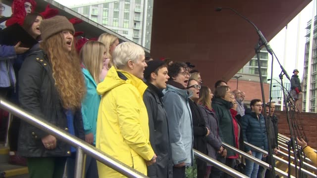 200th anniversary of the Peterloo massacre ENGLAND Manchester EXT Choir singing at event to mark the 200th anniversary of the Peterloo massacre Crowd...