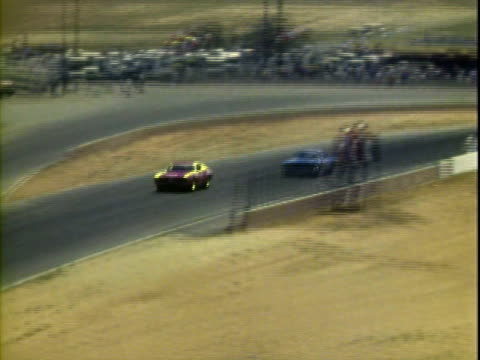 20jun1971 montage bobby allison racing '70 dodge richard petty racing '71 plymouth in first second positions at winston golden state 400 stock car... - riverside california stock videos and b-roll footage