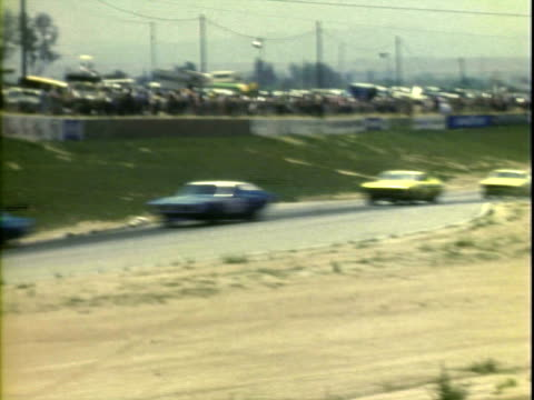 jun-1971 montage stock cars on pace lap of winston golden state 400 at riverside international raceway / johnny anderson driving '69 chevrolet /... - western script stock videos & royalty-free footage
