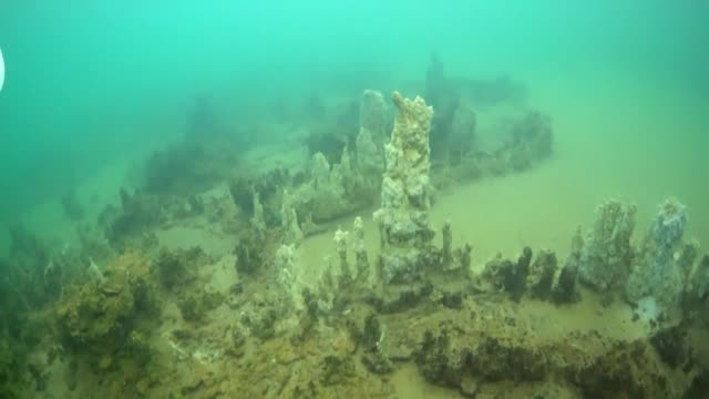 20mlong stalagmites also known as underwater fairy chimneys are found at four square kilometer area of lake van on june 06 2016 in turkey - lake van stock videos and b-roll footage